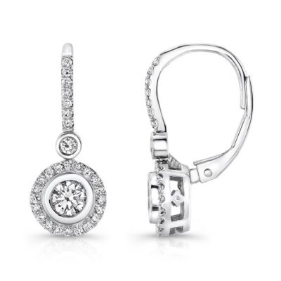 18K WHITE GOLD DIAMOND HALO BEZEL SET CENTER DROP EARRINGS FM28893 18W 400x400 - 18K WHITE GOLD DIAMOND HALO BEZEL SET CENTER DROP EARRINGS FM28893-18W