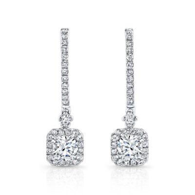 18K WHITE GOLD DIAMOND HALO DROP EARRINGS FM26956 18W 400x400 - 18K WHITE GOLD DIAMOND HALO DROP EARRINGS FM26956-18W
