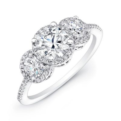 18K WHITE GOLD DIAMOND HALO ROUND DIAMOND SIDE STONE ENGAGEMENT RING FM17942 W 400x400 - 18K WHITE GOLD DIAMOND HALO ROUND DIAMOND SIDE STONE ENGAGEMENT RING FM17942-W