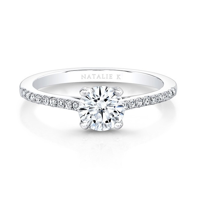 18k White Gold Diamond Lined Band And G Engagement Ring Fm26966 18w