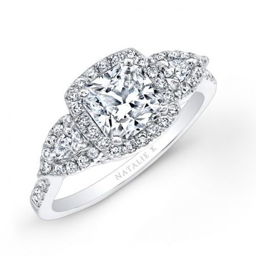 18K WHITE GOLD HALO DIAMOND ENGAGEMENT RING WITH PEAR SHAPED SIDE STONES NK25804 18W 500x500 - 18K WHITE GOLD HALO DIAMOND ENGAGEMENT RING WITH PEAR SHAPED SIDE STONES NK25804-18W