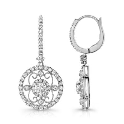 18K WHITE GOLD METAL SCROLL WORK DIAMOND HALO DROP EARRINGS FM28982 18W 400x400 - 18K WHITE GOLD METAL SCROLL WORK DIAMOND HALO DROP EARRINGS FM28982-18W