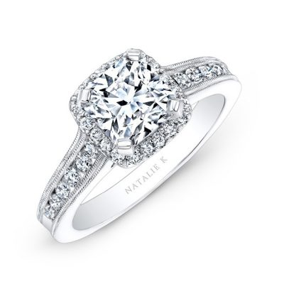 18K WHITE GOLD PAVE HALO DIAMOND ENGAGEMENT RING WITH MILGRAIN NK2568318 W 400x400 - 18K WHITE GOLD PAVE HALO DIAMOND ENGAGEMENT RING WITH MILGRAIN NK2568318-W