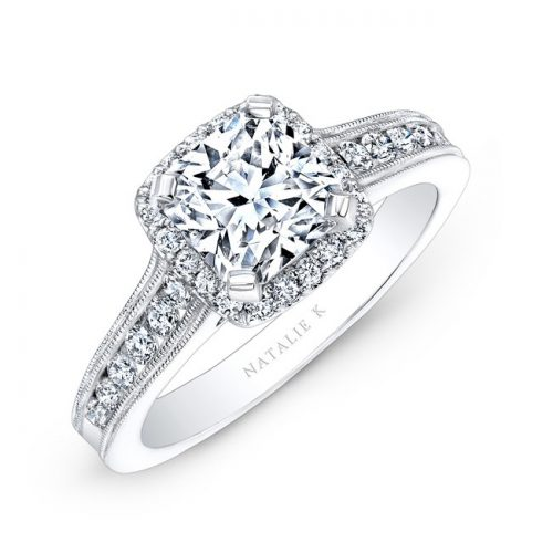 18K WHITE GOLD PAVE HALO DIAMOND ENGAGEMENT RING WITH MILGRAIN NK2568318 W 500x500 - 18K WHITE GOLD PAVE HALO DIAMOND ENGAGEMENT RING WITH MILGRAIN NK2568318-W