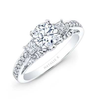 18K WHITE GOLD PAVE PRONG AND BEZEL ROUND DIAMOND ENGAGEMENT RING WITH SIDE STONES NK25815 18W 400x400 - 18K WHITE GOLD PAVE PRONG AND BEZEL ROUND DIAMOND ENGAGEMENT RING WITH SIDE STONES NK25815-18W