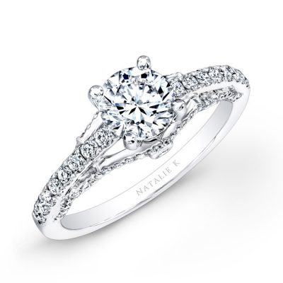 18K WHITE GOLD PRONG BEZEL SET WHITE DIAMOND ENGAGEMENT RING NK25797 W 400x400 - 18K WHITE GOLD PRONG BEZEL SET WHITE DIAMOND ENGAGEMENT RING NK25797-W
