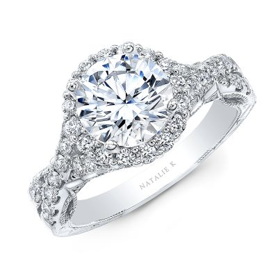 18K WHITE GOLD ROUND SHAPE HALO CRISS CROSS ENGAGEMENT RING NK35964 W 400x400 - 18K WHITE GOLD ROUND SHAPE HALO CRISS CROSS ENGAGEMENT RING NK35964-W