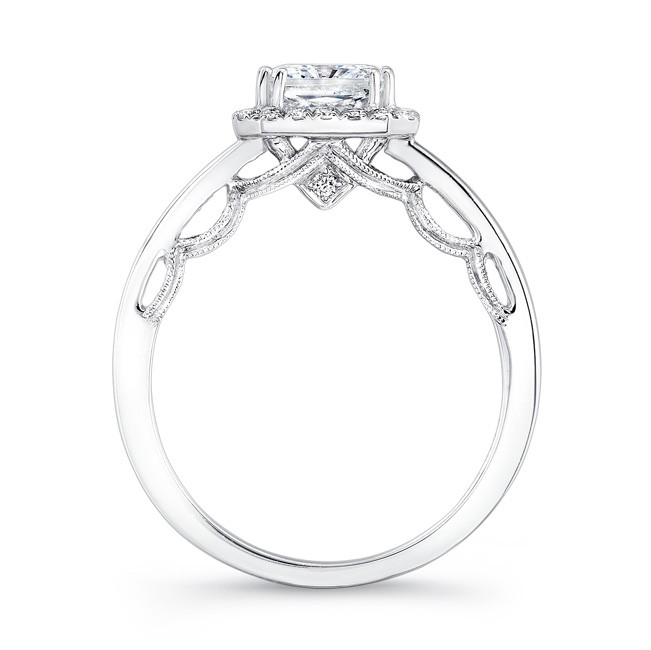 18K WHITE GOLD SCALLOPED DETAIL GALLERY DIAMOND HALO ENGAGEMENT RING