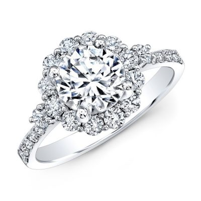 18K WHITE GOLD SINGLE PRONG DIAMOND HALO ENGAGEMENT RING WITH SIDE STONES NK29624 18W 400x400 - 18K WHITE GOLD SINGLE PRONG DIAMOND HALO ENGAGEMENT RING WITH SIDE STONES NK29624-18W