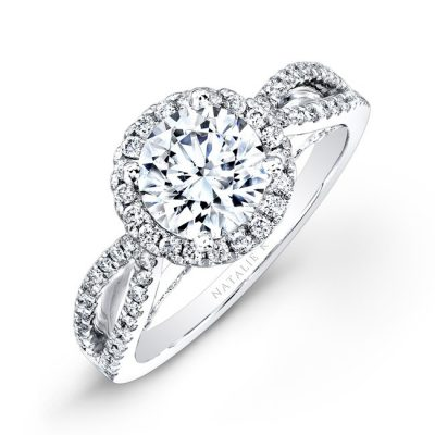 18K WHITE GOLD SPLIT SHANK HALO DIAMOND ENGAGEMENT RING NK26237ENG W 400x400 - 18K WHITE GOLD SPLIT SHANK HALO DIAMOND ENGAGEMENT RING NK26237ENG-W