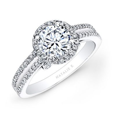 18K WHITE GOLD SPLIT SHANK HALO WHITE DIAMOND ENGAGEMENT RING NK26156 W 400x400 - 18K WHITE GOLD SPLIT SHANK HALO WHITE DIAMOND ENGAGEMENT RING NK26156-W