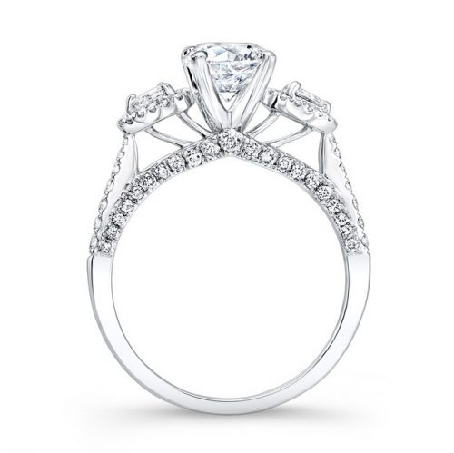 18K WHITE GOLD THREE STONE DIAMOND ENGAGEMENT RING WITH PEAR SHAPED SIDE STONES NK26293 W 1 500x499 - 18K WHITE GOLD THREE STONE DIAMOND ENGAGEMENT RING WITH PEAR SHAPED SIDE STONES NK26293-W