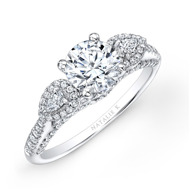 18k White Gold Three Stone Diamond Engagement Ring With