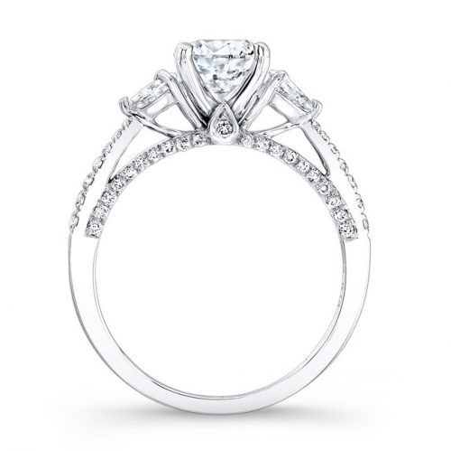 18K WHITE GOLD THREE STONE DIAMOND ENGAGEMENT RING WITH PEAR SHAPED SIDE STONES NK26627 18W 1 500x499 - 18K WHITE GOLD THREE STONE DIAMOND ENGAGEMENT RING WITH PEAR SHAPED SIDE STONES NK26627-18W