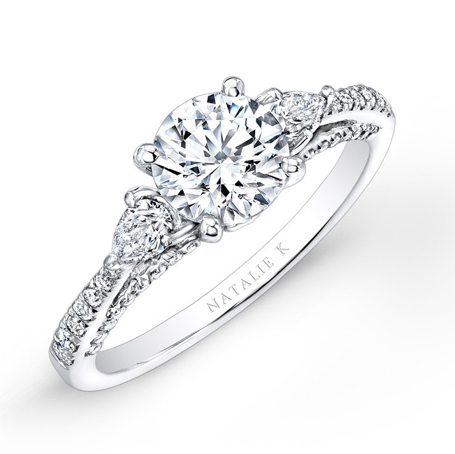 18K WHITE GOLD THREE STONE DIAMOND ENGAGEMENT RING WITH PEAR SHAPED