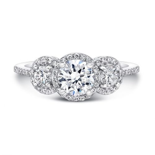 18K WHITE GOLD THREE STONE DIAMOND HALO ENGAGEMENT RING FM29011 18W 500x499 - 18K WHITE GOLD THREE STONE DIAMOND HALO ENGAGEMENT RING FM29011-18W