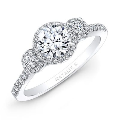 18K WHITE GOLD THREE STONE DIAMOND HALO ENGAGEMENT RING NK28739 18W 400x400 - 18K WHITE GOLD THREE STONE DIAMOND HALO ENGAGEMENT RING NK28739-18W