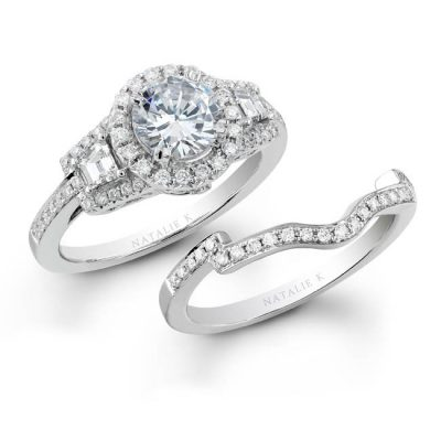 18K WHITE GOLD THREE STONE HALO BAGUETTE DIAMOND BRIDAL RING SET NK19516WE W 400x400 - 18K WHITE GOLD THREE STONE HALO BAGUETTE DIAMOND BRIDAL RING SET NK19516WE-W