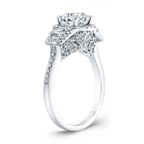 18K WHITE GOLD TRAPEZOID DIAMOND SIDE STONE DIAMOND HALO ENGAGEMENT RING NK28711 18W 1 500x500 - 18K WHITE GOLD TRAPEZOID DIAMOND SIDE STONE DIAMOND HALO ENGAGEMENT RING NK28711-18W
