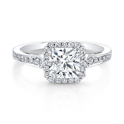 18K WHITE GOLD VINTAGE INSPIRED SQUARE DIAMONDS HALO ENGAGEMENT RING FM27012 18W 400x400 - 18K WHITE GOLD VINTAGE INSPIRED SQUARE DIAMONDS HALO ENGAGEMENT RING FM27012-18W