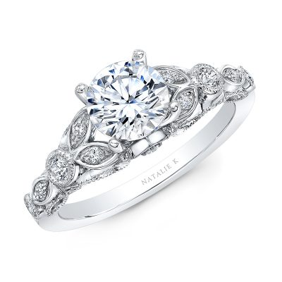18K WHITE GOLD VINTAGE LEAF DESIGN ENGAGEMENT RING NK35966 W 400x400 - 18K WHITE GOLD VINTAGE LEAF DESIGN ENGAGEMENT RING NK35966-W