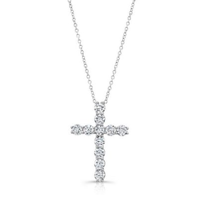 18K WHITE GOLD WHITE DIAMOND CROSS PENDANT FM31220 18W 400x400 - 18K WHITE GOLD WHITE DIAMOND CROSS PENDANT FM31220-18W