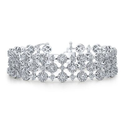 18K WHITE GOLD WHITE DIAMOND HALO AND PRINCESS CUT ACCENT BRACELET FM31761 18W 400x400 - 18K WHITE GOLD WHITE DIAMOND HALO AND PRINCESS CUT ACCENT BRACELET FM31761-18W