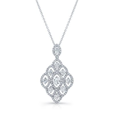 18K WHITE GOLD WHITE DIAMOND MARQUISE FRAME PENDANT NECKLACE FM31329 18W 400x400 - 18K WHITE GOLD WHITE DIAMOND MARQUISE FRAME PENDANT NECKLACE FM31329-18W