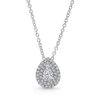 18K WHITE GOLD WHITE DIAMOND PEAR SHAPED CENTER AND HALO PENDANT FM30854 18W 400x400 - 18K WHITE GOLD WHITE DIAMOND PEAR SHAPED CENTER AND HALO PENDANT FM30854-18W
