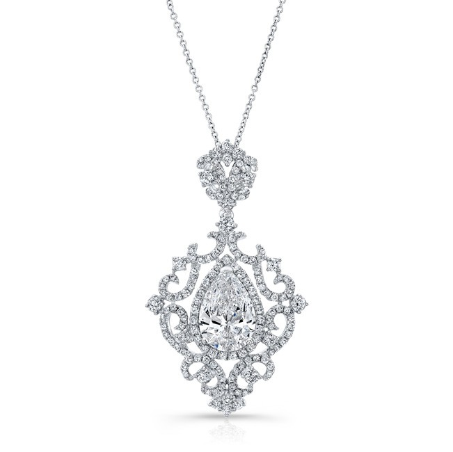18k white gold white diamond pear shaped center filigree pendant 18k white gold white diamond pear shaped center filigree pendant fm31096 18w aloadofball Image collections