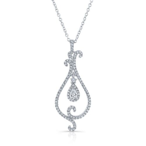 18K WHITE GOLD WHITE DIAMOND PEAR SHAPED CENTER SWIRLED PENDANT FM31537 18W 500x499 - 18K WHITE GOLD WHITE DIAMOND PEAR SHAPED CENTER SWIRLED PENDANT FM31537-18W