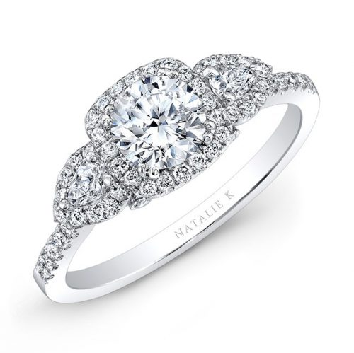 18K WHITE GOLD WHITE DIAMOND PEAR SHAPED SIDE STONE DIAMOND HALO ENGAGEMENT RING NK30537 W 500x499 - 18K WHITE GOLD WHITE DIAMOND PEAR SHAPED SIDE STONE DIAMOND HALO ENGAGEMENT RING NK30537-W