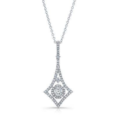 18K WHITE GOLD WHITE DIAMOND WHITE DIAMOND HALO ELONGATED DIAMOND SHAPE PENDANT FM31346 18W 400x400 - 18K WHITE GOLD WHITE DIAMOND WHITE DIAMOND HALO ELONGATED DIAMOND SHAPE PENDANT FM31346-18W