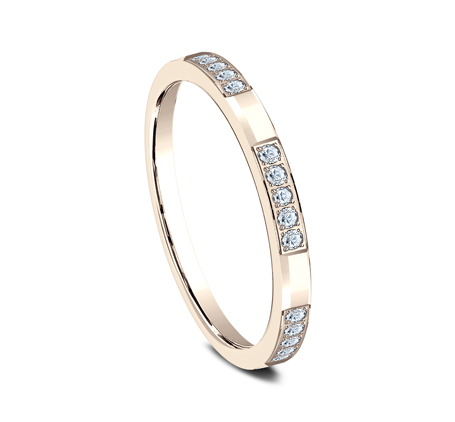 2MM ROSE GOLD DIAMOND BAND FEATURES 25 PAVE SET 522851R 1 - 2MM ROSE GOLD DIAMOND BAND FEATURES 25 PAVE' SET 522851R