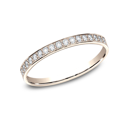 2MM ROSE GOLD PAVE SET DIAMOND BAND 522800R - 2MM ROSE GOLD PAVE' SET DIAMOND BAND 522800R