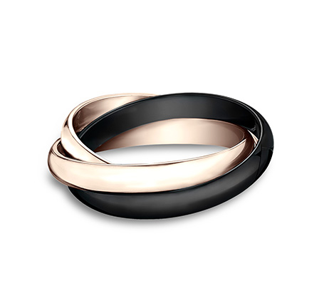 3MM ROSE GOLD AND CERAMIC COMBINATION BAND 130RR1CM2R 2 - 3MM ROSE GOLD AND CERAMIC COMBINATION BAND 130RR1CM2R
