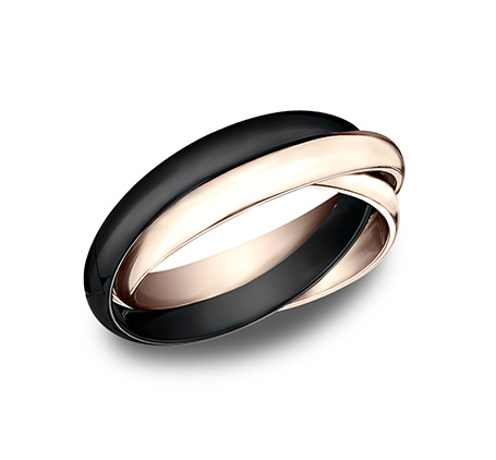 3MM ROSE GOLD AND CERAMIC COMBINATION BAND 130RR1CM2R - 3MM ROSE GOLD AND CERAMIC COMBINATION BAND 130RR1CM2R