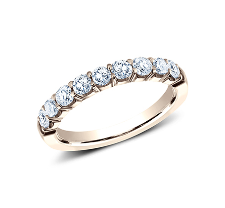 3MM ROSE GOLD CRESCENT SHARED PRONG DIAMOND BAND 5935643R - 3MM ROSE GOLD CRESCENT SHARED PRONG DIAMOND BAND 5935643R