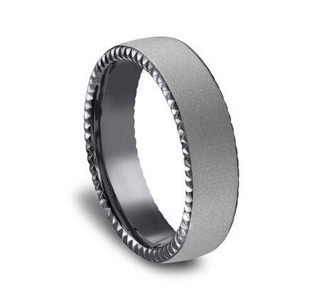 6.5MM COMFORT FIT SATIN FINISHED CARVED TANTALUM BAND CF716525TA 1 - 6.5MM COMFORT-FIT SATIN-FINISHED CARVED TANTALUM BAND CF716525TA