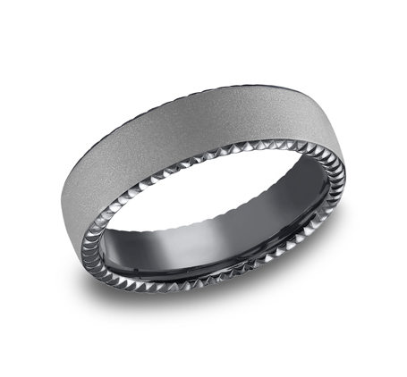 6.5MM COMFORT FIT SATIN FINISHED CARVED TANTALUM BAND CF716525TA - 6.5MM COMFORT-FIT SATIN-FINISHED CARVED TANTALUM BAND CF716525TA