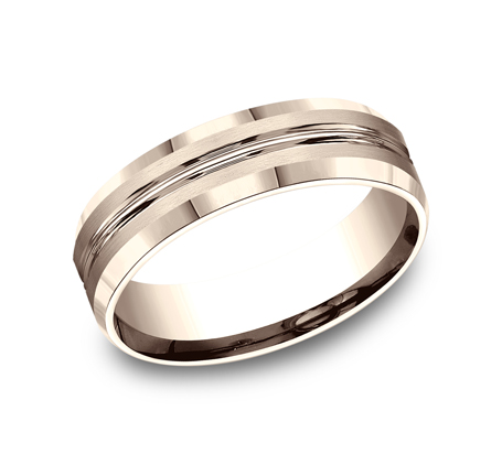 6MM COMFORT FIT SATIN FINISHED CARVED DESIGN BAND CF66439R - 6MM COMFORT-FIT SATIN-FINISHED CARVED DESIGN BAND CF66439R