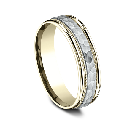 6MM TWO TONED CARVED DESIGN BAND CF156308 1 - 6MM TWO-TONED CARVED DESIGN BAND CF156308