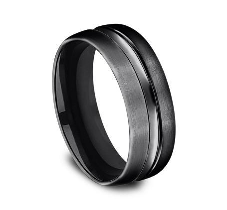 7.5MM BLACK TITANIUM COMFORT FIT BAND CF717505BKT 1 - 7.5MM BLACK TITANIUM COMFORT-FIT BAND CF717505BKT