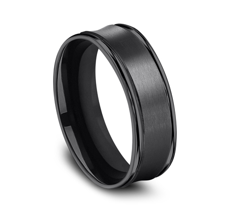 7.5MM COMFORT FIT AND SATIN FINISHED BLACK TITANIUM BAND RECF87500BKT 1 - 7.5MM COMFORT-FIT AND SATIN-FINISHED BLACK TITANIUM BAND RECF87500BKT