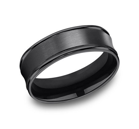 7.5MM COMFORT FIT AND SATIN FINISHED BLACK TITANIUM BAND RECF87500BKT - 7.5MM COMFORT-FIT AND SATIN-FINISHED BLACK TITANIUM BAND RECF87500BKT