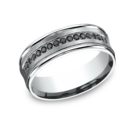 7.5MM COMFORT FIT CONCAVE PAVE SET DIAMOND BAND CF717592W - 7.5MM COMFORT-FIT CONCAVE PAVE SET DIAMOND BAND CF717592W