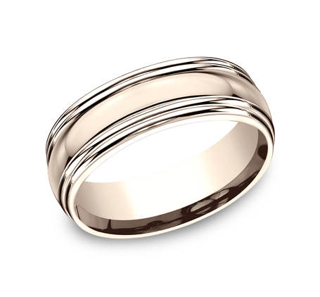 7.5MM COMFORT FIT HIGH POLISHED CARVED DESIGN BAND RECF87501R - 7.5MM COMFORT-FIT HIGH POLISHED CARVED DESIGN BAND RECF87501R