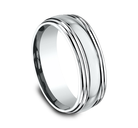 7.5MM COMFORT FIT HIGH POLISHED CARVED DESIGN BAND RECF87501W 1 - 7.5MM COMFORT-FIT HIGH POLISHED CARVED DESIGN BAND RECF87501W