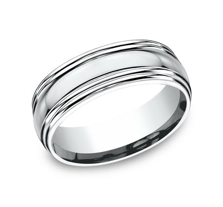 7.5MM COMFORT FIT HIGH POLISHED CARVED DESIGN BAND RECF87501W - 7.5MM COMFORT-FIT HIGH POLISHED CARVED DESIGN BAND RECF87501W