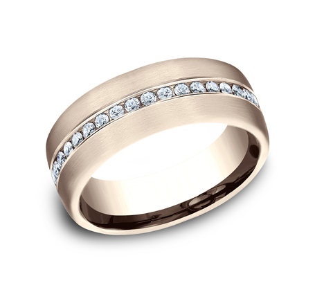 7.5MM ROSE GOLD SATIN FINISHED COMFORT FIT DIAMOND BAND CF717573R - 7.5MM ROSE GOLD SATIN-FINISHED COMFORT-FIT DIAMOND BAND CF717573R